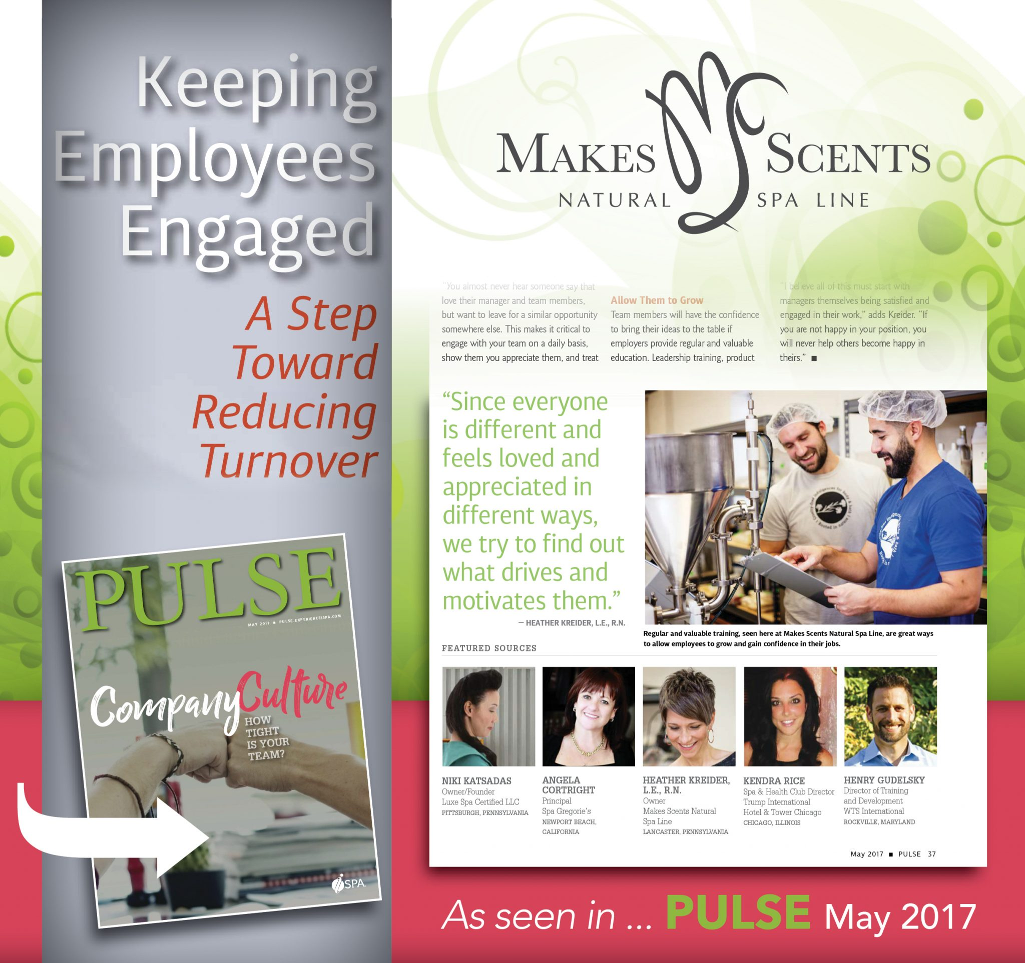 International Spa Association - Pulse Magazine - Keeping Employees Engaged - Makes Scents Natural Spa Line