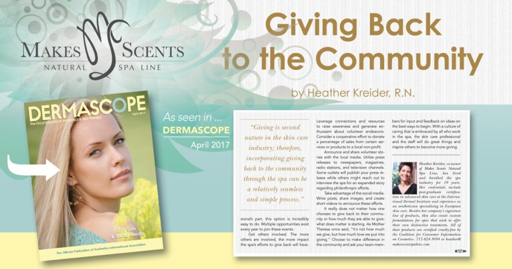 DERMASCOPE Magazine_April 2017_Giving Back to the Community