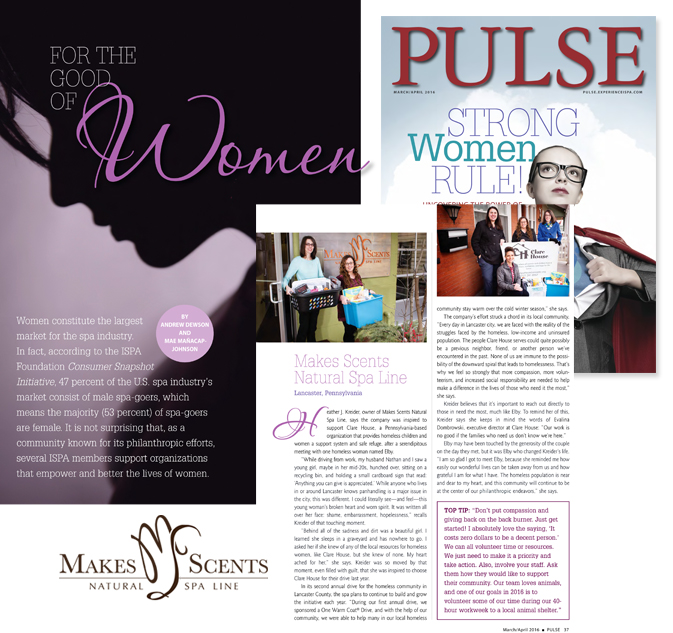 International Spa Association - PULSE Magazine - March April_2016 - Makes Scents Natural Spa Line
